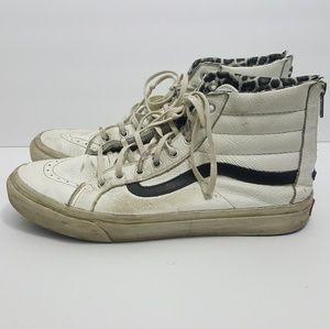 Vans Sk8-hi zip up white leather size 9.5 cheetah